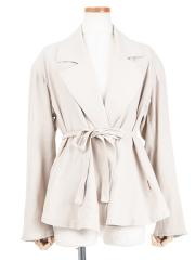 cotton double-crepe wrap jacket