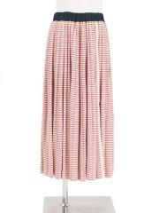 linen silik striped knit pleated skirt