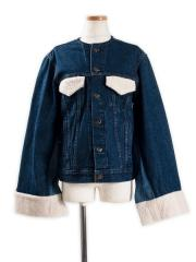 circa make no collar boa flap denim jacket