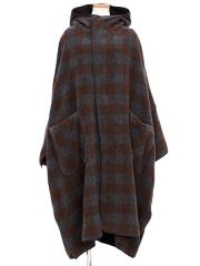 block checked wool-mosser poncho【OUTLET/50%OFF】