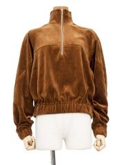 cotton velvet jersey half zip top